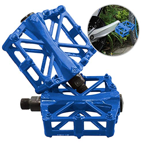 JJOnlineStore–Ein Paar / 2 Stück Ultraleichte Aluminium flach Plattform Pedale Fahrrad MTB BMX MOUNTAIN BIKE pedale fahrrad links rechts alu pedale, 9\'/16\' zoll (blau)