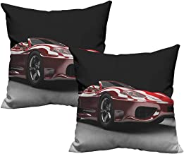 RuppertTextile Creative Pillowcase Cars Automotive Industry Theme Powerful Engine Fast Technology Prestige Performance Anti-Fading W18 xL18 2 pcs