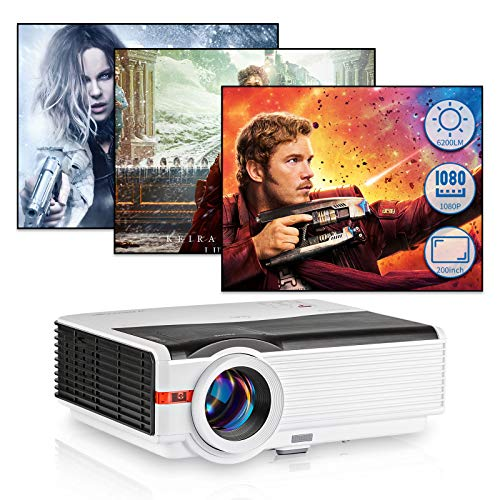 """6200 Lux Full HD Video Projector, LCD LED Home Theater 1080P Projector 200"""" Display HDMI Outdoor Movie Projector Compatible with Smartphone, PC, TV Stick, PS5, USB, VGA AV, TV Box, for Video Games"""