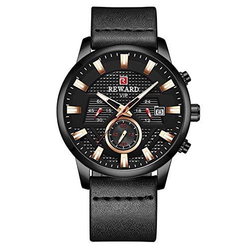 CHICAI Reloj negro de moda para hombre, marca de lujo, resistente al agua, cronógrafo, reloj de pulsera de cuarzo deportivo, color negro, caja de oro rosa