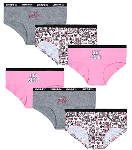 Limited Too Girls' Soft Touch Cotton Hipster Underwear Panties (6 Pack), Heather Grey/White/Candy Pink, Size Small'