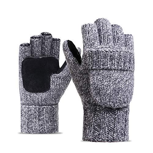 QHGao Fingerlose Wollhandschuhe, Warme Unisex-Strickhandschuhe Aus Wolle, Warme Cabrio-Handschuhe Sowie Samtverdickung Für Angenehme Wärme Und Fusselfreie Haut,Grau