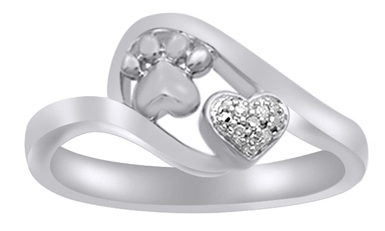 White Natural Diamond Accent Paw Print Heart Ring in 14k Gold Over Sterling Silver