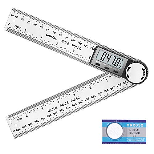 Digital Angle Finder Protractor 7inch Stainless Steel, 2-in-1 Angle Measurement Tool 360 Degree with...