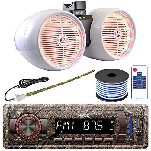 Pyle Single DIN AM FM Radio USB AUX Marine Headunit Camouflage Receiver Bundle Combo with 8  600W Dual Wakeboard White Marine Multi-Color LED Tower Speakers, Wired Antenna, 18 Gauge Speaker Wire