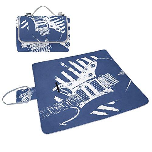 COOSUN Musik Gitarre Doodles Pink Picknick Decke Tote Handlich Matte Mehltau resistent und wasserfest Camping Matte für Picknicks, Strände, Wandern, Reisen, Rving und Ausflüge