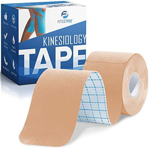 Fittest Pro Kinesiology Tape - 20 Precut Strips - Plantar Fasciitis, Shin Splint & Calf Strain Recovery Support - Waterproof (Beige)