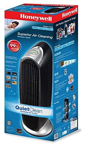 "Honeywell QuietClean Oscillating Air Purifier with Permanent Washable Filters, 29"" x 11"" x 10"", Black"
