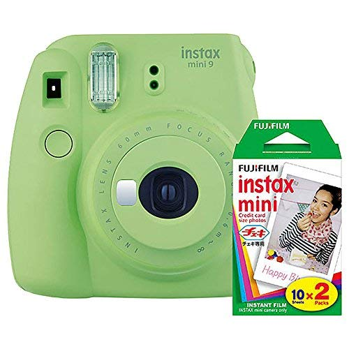 Fujifilm Instax Mini 9 Instant Camera (Lime Green) with Film Twin Pack Bundle (2 Items)
