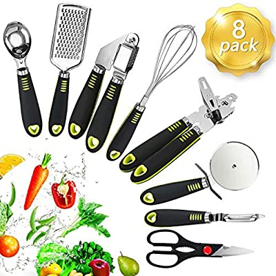 FOLNG 8 Pcs Kitchen Essential Utensils Set Stainless Steel Utensil Set Kitchen Gadgets and Tool Set Best Sellers with Soft Touch Black Handles from HOME&KITCHEN-LOVE