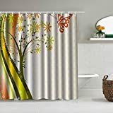 MEJX Duschvorhang,Distel Natur abstrakt stilisierte Baumblumen & Schmetterling mit Wellenlinien gepunktet,personalisierte Deko Badezimmer Vorhang,mit Haken,180 * 180