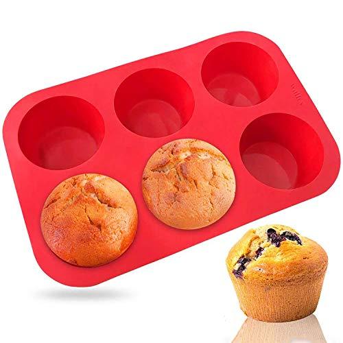 Walfos Grande Molde de Horno para Muffin Silicona - Grande 6 Cavidades Antiadherente Bandejas para Hornear Magdalenas para Muffin de Huevo, Magdalena Grande