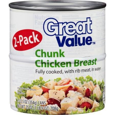 Chunk Chicken Breast with Rib Meat in Water Fully Cooked [Pack of 2]