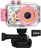 Luoba Kids Camera Waterproof Digital Camera for Kids,1080P Video Recorder Birthday Gifts for Boys Age 3-8,Toddler Pool Toys for 3 4 5 6 7 8 Year Old Boys and Girls with 32GB SD Card (Pink)