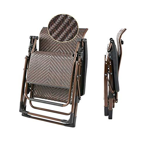 WSDSX Silla reclinable Plegable Silla reclinable Plegable de Gravedad Cero, Silla de salón para Patio al Aire Libre, Tumbona para el hogar, balcón, Sala de Estar, Almuerzo, Siesta, Mimbre