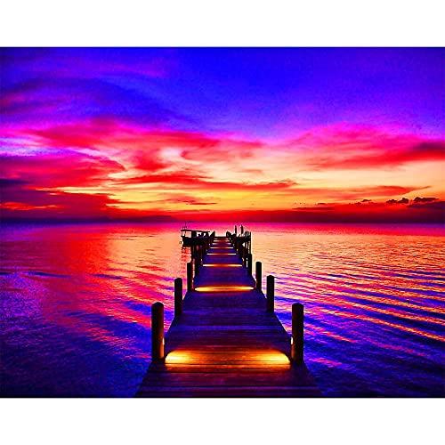 5D DIY diamante pintura paisaje muelle puente puesta de sol junto al mar diamante punto de cruz conjunto mosaico arte imagen A4 40x50cm