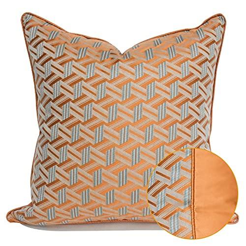 HOUMEL Cubiertas de cojín Decorativas Naranja y Gris Precision Jacquard Casos de Almohada geométrica con Relleno para Sala de Estar sofá sofá 45 cm x 45cm / 50cm x 50cm 441