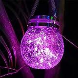 OMGPFR Luces Exteriores con energía Solar, Luz LED para Colgar Vidrio Artesanal Agrietado Lámpara Solar Ligera Impermeable Regalo por Jardín Yarda Navidad Boda Fiesta Decoración,Rosado