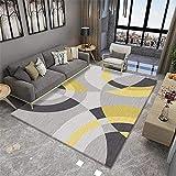 Cuadros cabecero Cama Matrimonio alfombras Exterior Jardin Salón Alfombra Dormitorio Gris Amarillo Suave y cómodo Lavable alfombras en Rollo 5ft 10.9' X9ft 2.2'