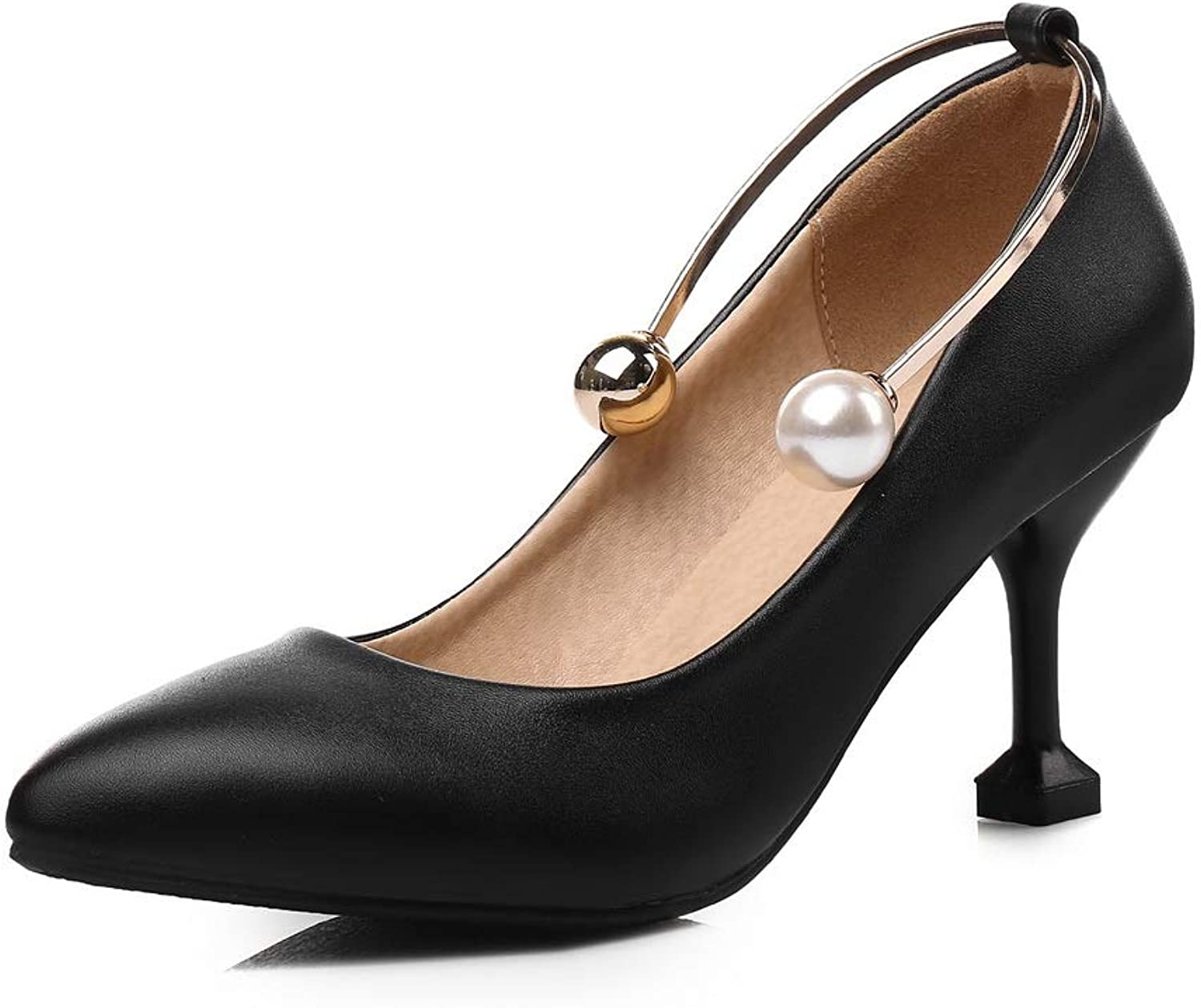 BalaMasa Womens Baguette-Style Solid Charms Urethane Pumps shoes APL10660