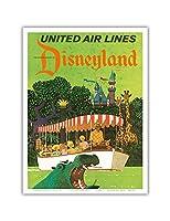 ディズニーランドカリフォルニア州 - ユナイテッドエアラインズ - アドベンチャージャングルクルーズカバ - ビンテージな航空会社のポスター によって作成された スタン・ガリ c.1960s - アートポスター - 23cm x 31cm