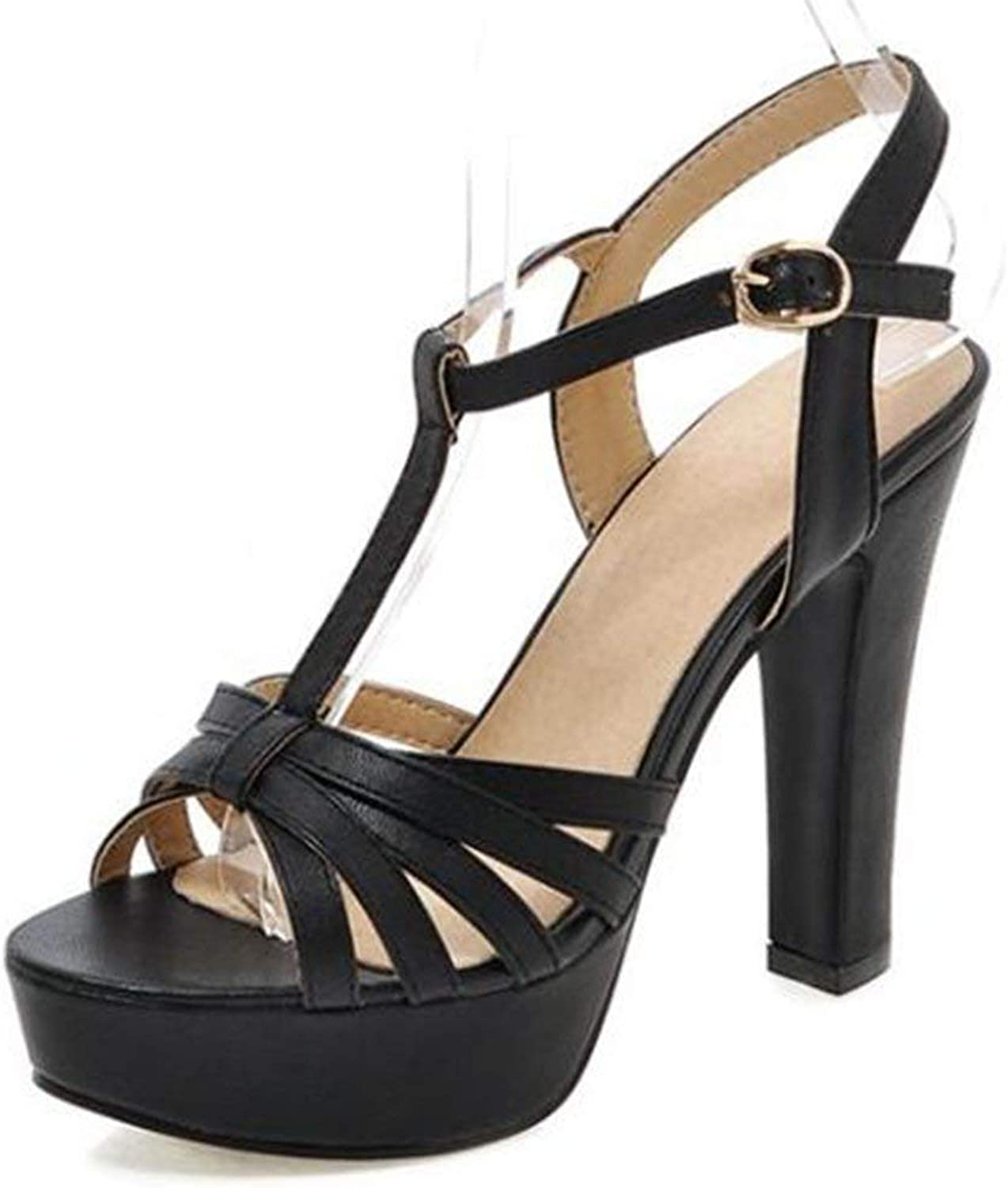 Lelehwhge Women's Sexy Peep Toe T-Strap Cocktail shoes Chunky High Heel Platform Strappy Sandals Beige 4 M US
