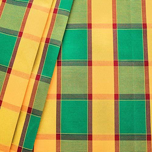 STOFFKONTOR Dekostoff Outdoorstoff Karo groß Meterware Grün-Gelb-Rot