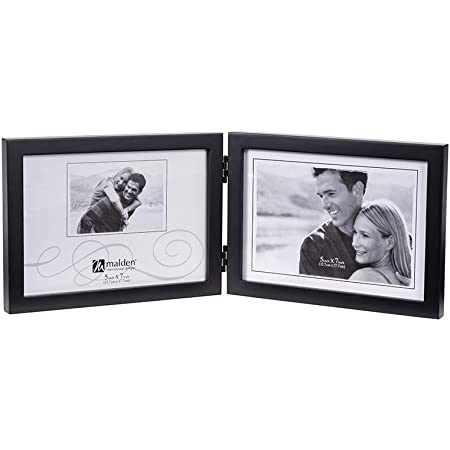 Amazon Com Lawrence Frames Hinged Double Horizontal Walnut Wood Picture Frame Gallery Collection 5 By 7 Inch Art Frame Molding