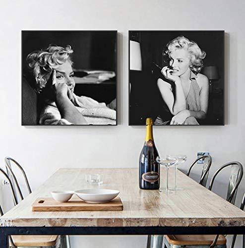 zszy Blanco y Negro Marilyn Monroe Arte de la Lona Carteles e Impresiones de Moda Cuadros de Pared Salón Salón-50x50cmx2 Piezas sin Marco