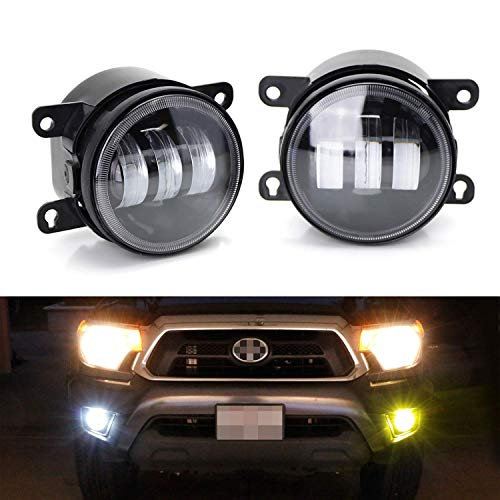 iJDMTOY Clear Lens 6000K White/2500K Yellow Dual Color 20W High Power LED Fog Light Assembly Compatible With Acura Honda Nissan Subaru Land Rover Suzuki, etc