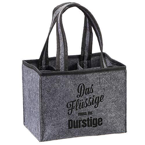 MIK Funshopping Flaschenträger Männertasche Männerhandtasche mit 6 Fächer (Das Flüssige muss ins Durstige)