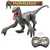 Hot Bee Remote Control Dinosaur Toys, Walking Robot Dinosaur Figure 2.4Ghz Simulation Velociraptor Blue w/ LED Light & Roaring - RC Dinosaur Toys for Kids 5-7