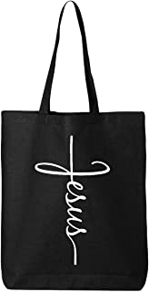 Shop4Ever Jesus Cross Eco Cotton Tote Reusable Shopping Bag 6 oz Black 1 Pack