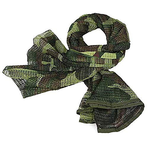 LOOGU Tactical Mesh Net Camo Scarf for Wargame,Sports & Other Outdoor Activities (Woodland Camo (3))