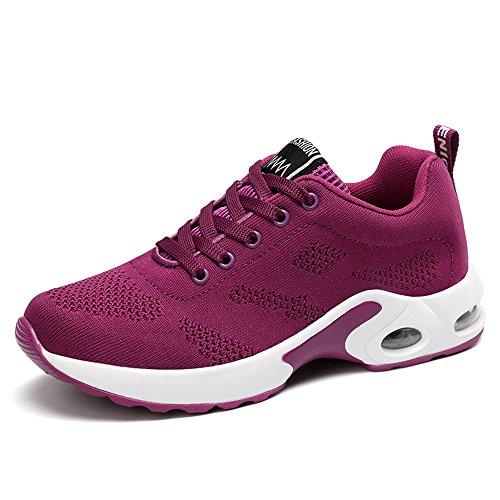 XPERSISTENCE Damen Laufschuhe Atmungsaktiv rutschfeste Fitness Straßenlaufschuhe Sportschuhe Mode Freizeitschuhe Sneaker Violett 38 EU