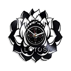 Kovides Lotus Wall Clock Nelumbo Wall Clock Vintage Vinyl Record Retro Wall Clock Large Flower Art Exclusive Wall Clock 12 Inch Birthday Gift Lotos Gift for Woman New Year Gift Plant