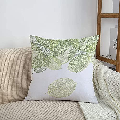 Fundas de cojines sencillas y clásicas de 45 x 45 cm,Verde, estilizado Hojas verdes frescas Botánica Biología M,ideales para casa, oficina o para la espalda en el coche - Fundas de Poliéster para sofá