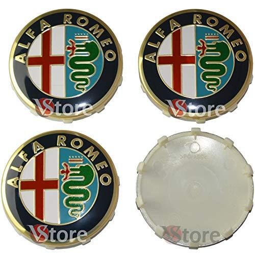 4 Tapones para tapacubos de 60 mm compatibles con llantas originales Alfa Romeo Giulietta 147 159 146 156 Brera escudo Fregi oro