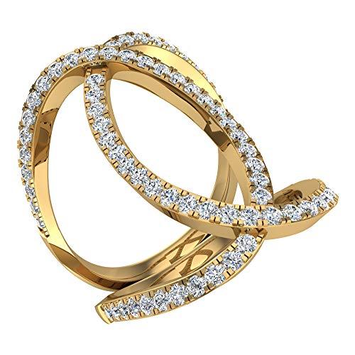 0.66quilates TW Marquise Twirl alargado nudillos anillo de cóctel (oro de 14K G, si)