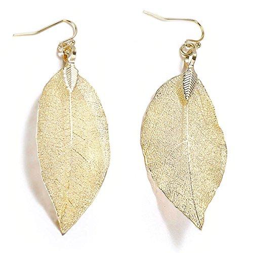 Nature Filigree Leaf Dangle Earrings for Women Girls-14 K Gold,Rose Gold,Silver Colors