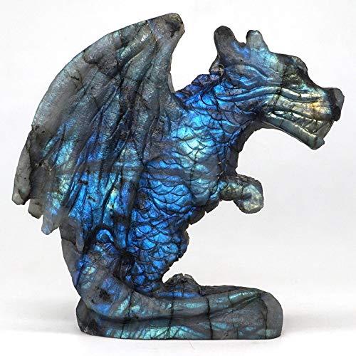 LQCN Wing Dragon Figur Natural Labradorite handgeschnitzte Statue Handwerk Home Office Decor, 1pc