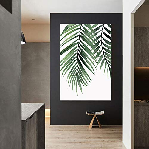 Yulernka verde planta lienzo pintura plantas nórdicas pintura arte impresión cartel pared para sala decoración nórdica 40x60cm