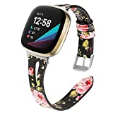 MEFEO Leather Bands Compatible with Fitbit Versa 3 / Fitbit Sense, Slim Soft Band Wristbands Replacement with Breathable Triangle Hole Design Strap for Watch Women Men (Flower1)