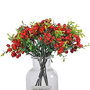 Silk Flower Arrangements JD ARTIFICIAL PLANTS 8 Pack 11 Inch Artificial Berry Stems Shrub Holly Branch for Home Decor Wedding Bouquet Christmas Trees (Red)
