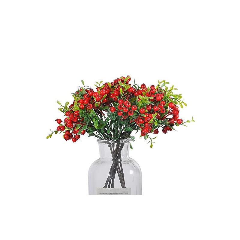 silk flower arrangements jd artificial plants 16 pack 11 inch artificial berry stems shrub holly branch for home decor wedding bouquet christmas trees (red)