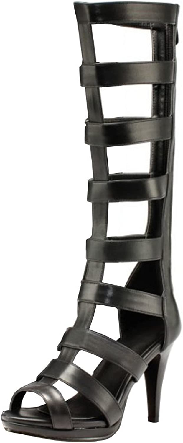 Agodor Womens High Heels Open Toe Knee High Summer Boots with Zip Rome Gladiator Sandals Classic Long shoes