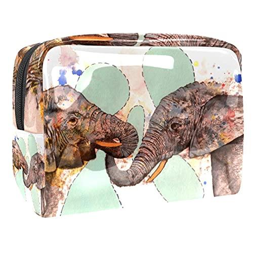 Mini Bolso del Maquillaje de Las Mujeres, Prenda Impermeable del Neceser del Viaje del Almacenamiento Elefante Arte Pintura Infantil Oro para Viajes, Organizadora de cosméticos