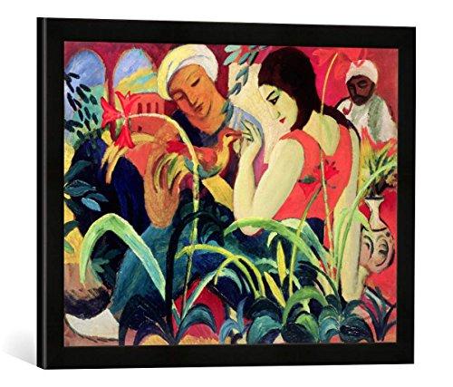 """Gerahmtes Bild von August Macke Oriental Women, 1912\"""", Kunstdruck im hochwertigen handgefertigten Bilder-Rahmen, 60x40 cm, Schwarz matt"""