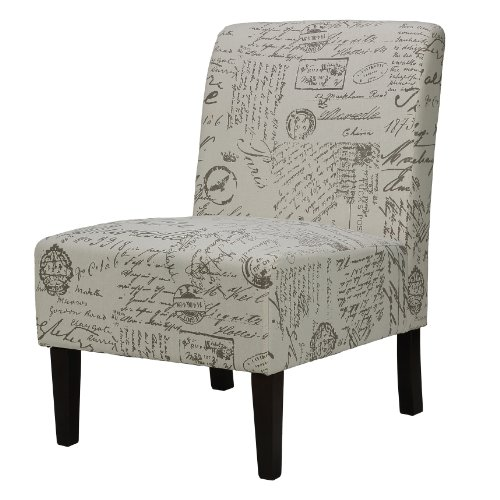 Cortesi Home Chicco Fabric Armless Accent Chair, Black Script