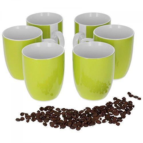 Van Well Vario 6er Kaffeetassen-Set I Porzellan-Tasse groß - in div. fröhlichen Farben I pflegeleichtes Tassen-Set - für Spülmaschine & Mikrowelle geeignet I 300 ml Kaffeebecher Grün 6 Stück
